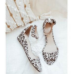 J.CREW Leopard Open Toe Wedge Sandals sz 8